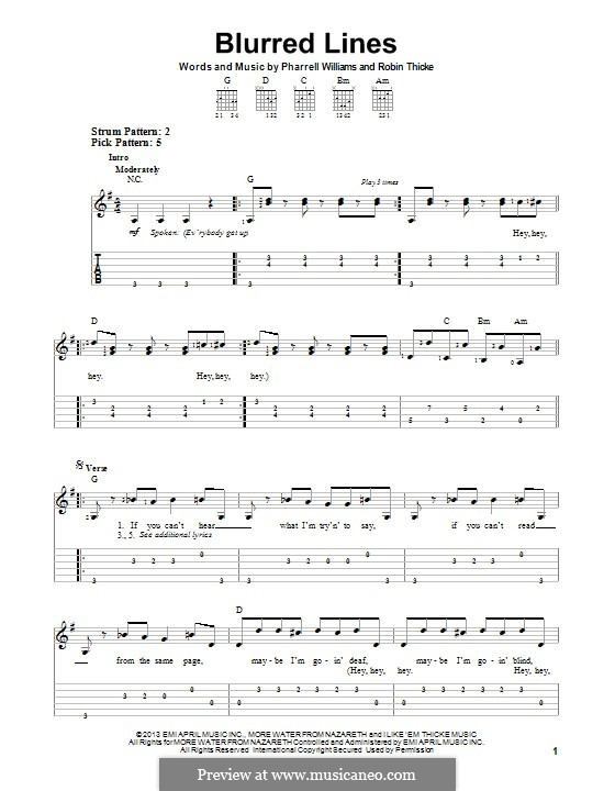 Blurred Lines: For guitar with tab by Clifford Harris, Pharrell Williams, Robin Thicke