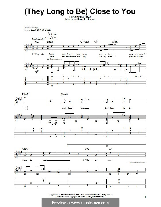 Close to You (They Long to be): For guitar with tab by Burt Bacharach