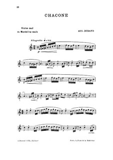 Chaconne in A Minor, Op.62: For violin (or mandolin) by Auguste Durand