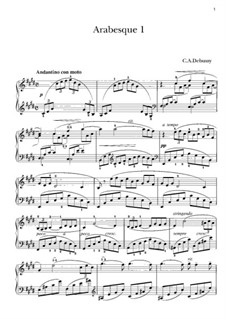 Two Arabesque, L.66: Arabesque No.1, for piano by Claude Debussy