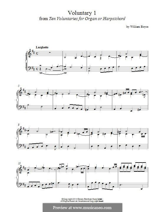 Ten Voluntaries for Organ (or Harpsichord): Voluntary No.1 by William Boyce