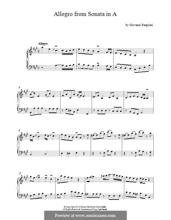 Sonata for Harpsichord in A Major: Allegro. Version for piano by Giovanni Battista Pergolesi