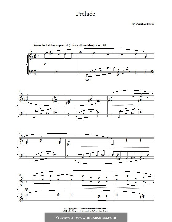 Prelude, M.65: For piano by Maurice Ravel