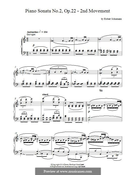 Sonata No.2 in G Minor, Op.22: Movement II by Robert Schumann