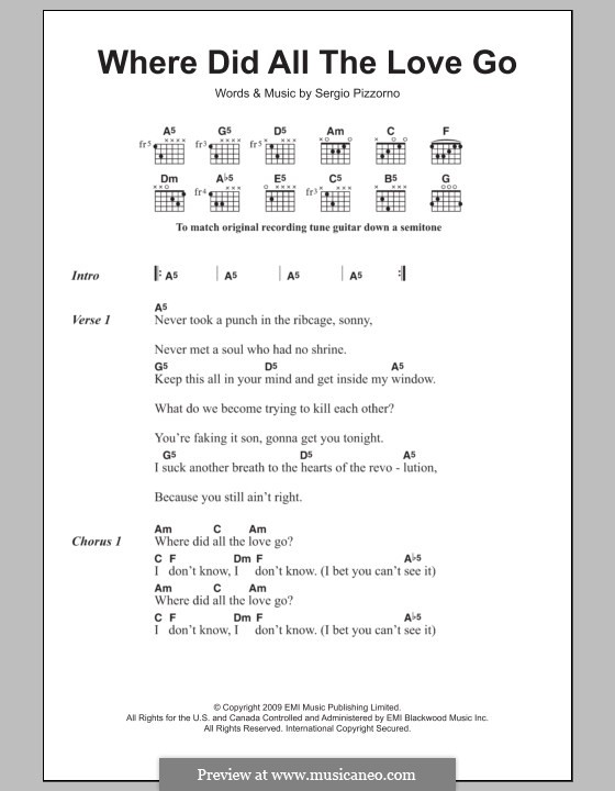 Where Did All the Love Go (Kasabian): Lyrics and chords by Sergio Pizzorno
