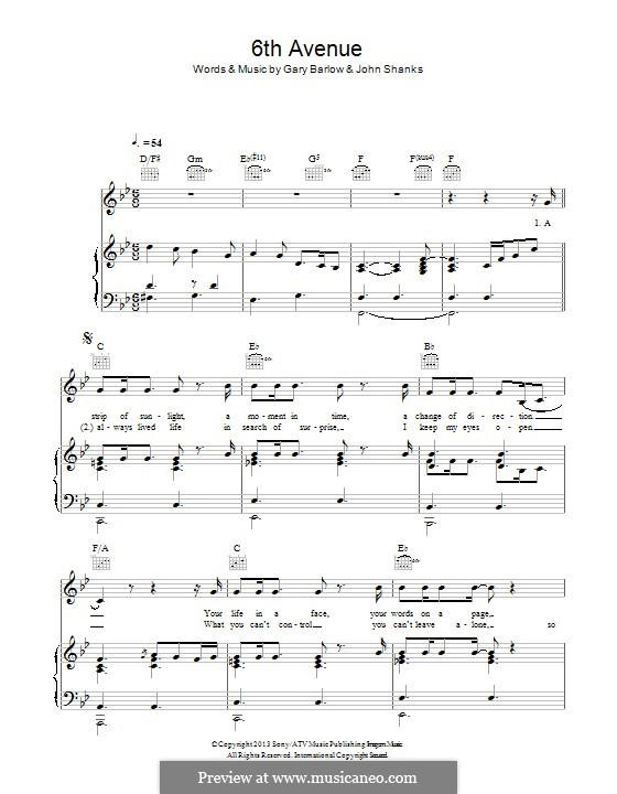 6th Avenue: For voice and piano (or guitar) by Gary Barlow, John M Shanks