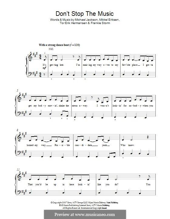 Don't Stop the Music: For piano by Frankie Storm, Michael Jackson, Mikkel Storleer Eriksen, Tor Erik Hermansen