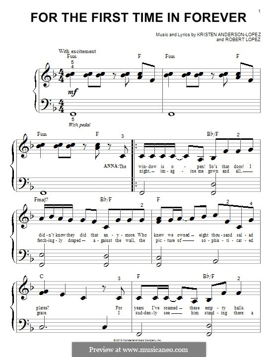 For the First Time in Forever (Kristen Bell & Idina Menzel): For easy piano by Robert Lopez, Kristen Anderson-Lopez