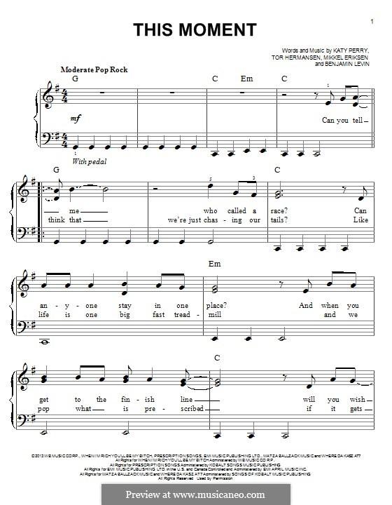 This Moment: For piano by Benjamin Levin, Katy Perry, Mikkel Storleer Eriksen, Tor Erik Hermansen