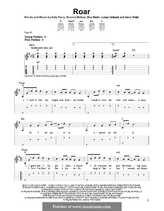 Roar: For guitar with tab by Bonnie McKee, Katy Perry, Lukas Gottwald, Max Martin, Henry Russell Walter