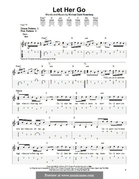 Piano piano tabs let her go : Let Her Go (Passenger) by M. Rosenberg - sheet music on MusicaNeo