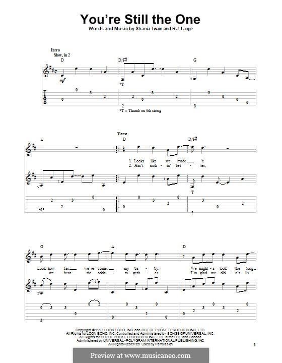 You're Still the One: For guitar with tab by Robert John Lange, Shania Twain