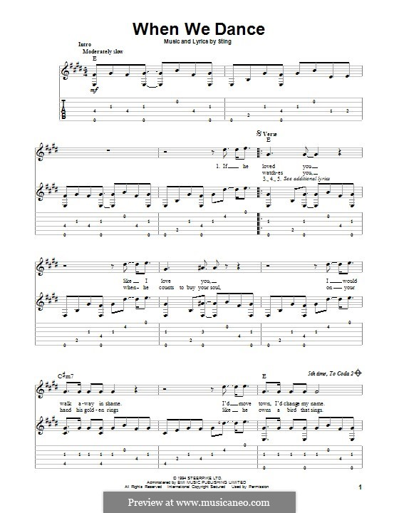 When We Dance: For guitar with tab by Sting