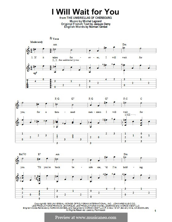 I Will Wait for You: For guitar with tab by Michel Legrand