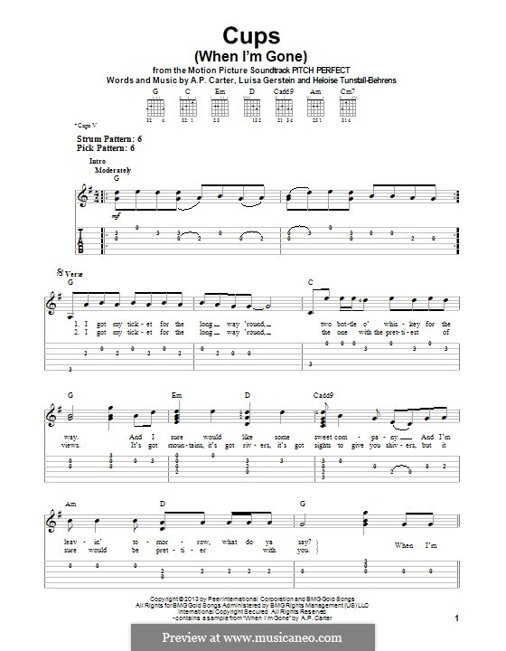 Cups (When I'm Gone): For guitar with tab by A.P. Carter, Luisa Gerstein, Heloise Tunstall-Behrens