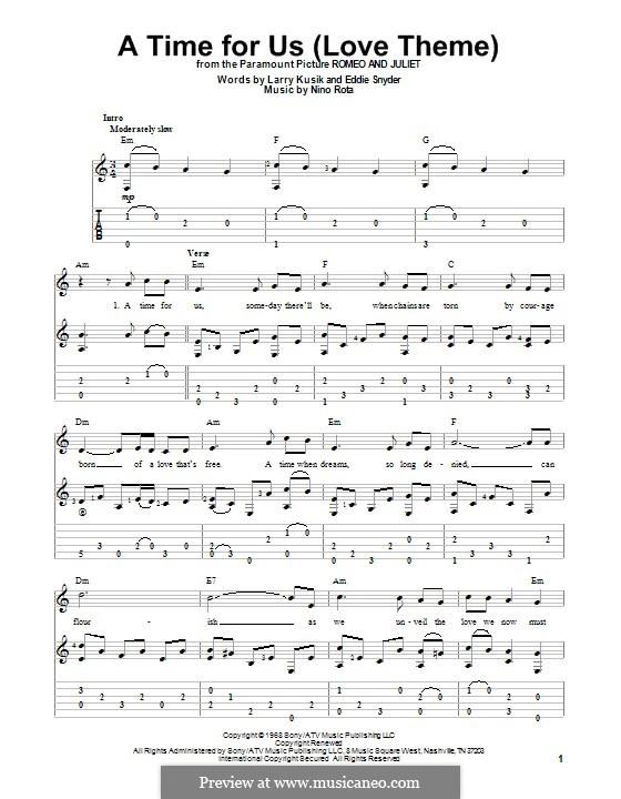 A Time For Us Love Theme From Romeo And Juliet Guitar With: A Time For Us Violin Sheet Music At Alzheimers-prions.com