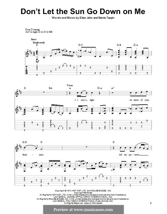 Don't Let the Sun Go Down on Me: For guitar with tab by Elton John