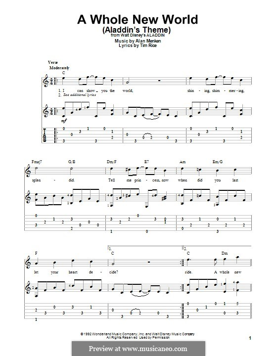 A Whole New World (from Aladdin): For guitar with tab by Alan Menken