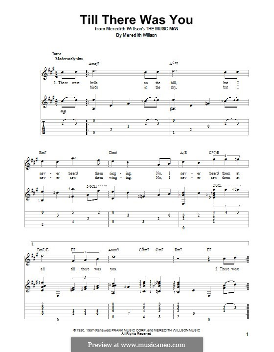 Till There Was You: For guitar with tab by Meredith Willson