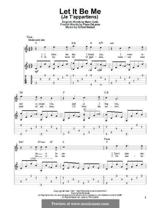 Let It Be Me (Je T'appartiens): For guitar with tab (The Everly Brothers) by Gilbert Becaud, Manny Kurtz, Pierre Delanoe