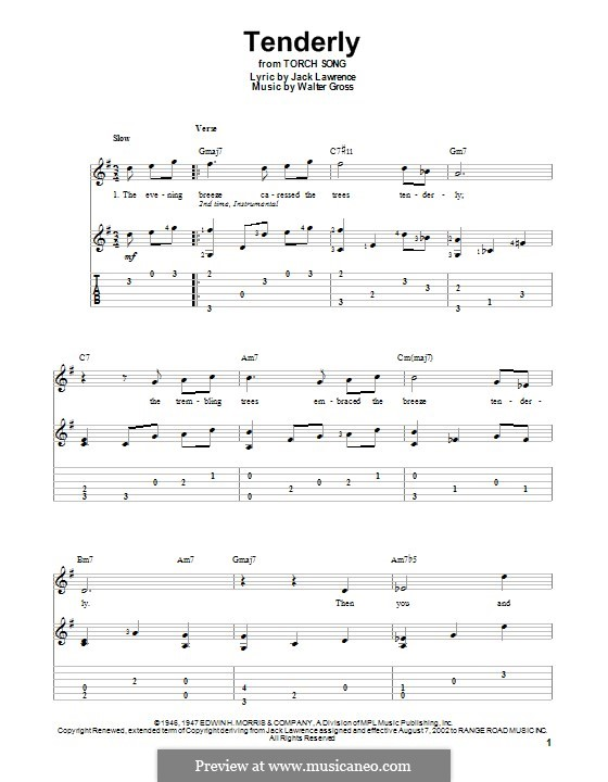 Tenderly: For guitar with tab by Walter Gross