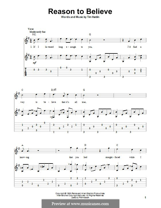 Reason To Believe: For guitar with tab by Tim Hardin