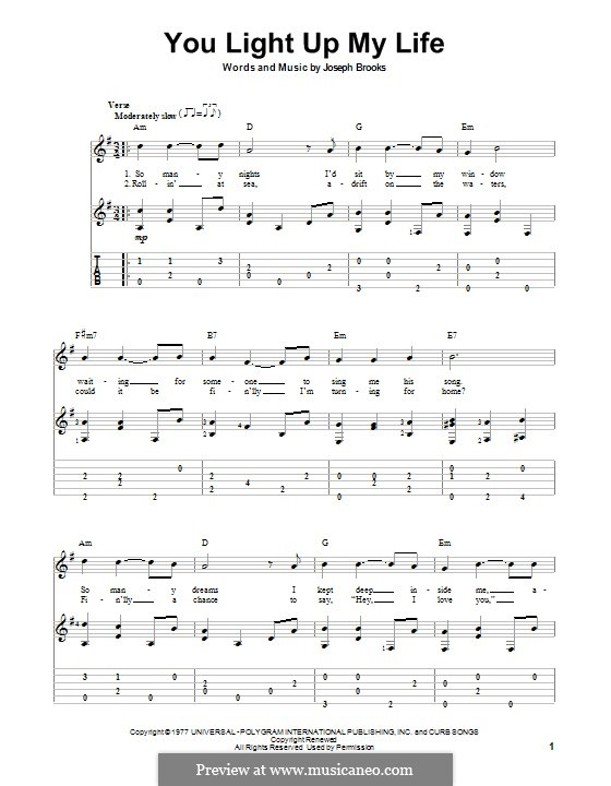 You Light Up My Life: For guitar with tab by Joseph Brooks