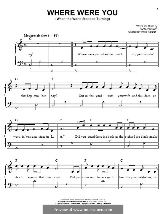 Where Were You (When the World Stopped Turning): For piano by Alan Jackson