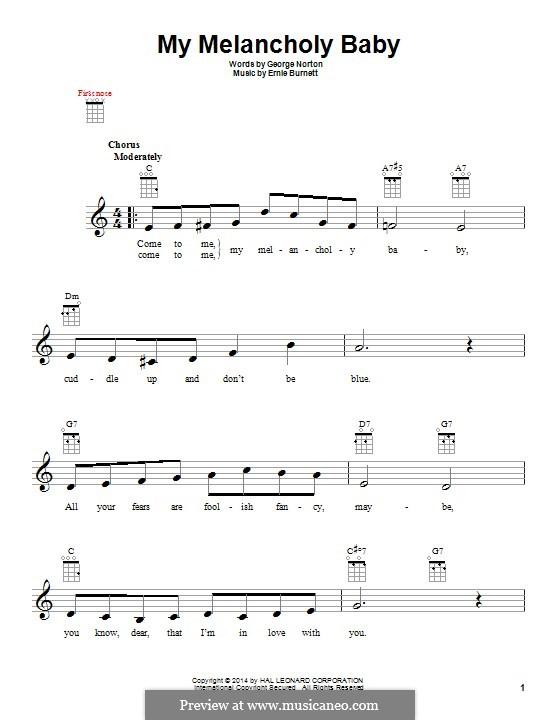 My Melancholy Baby: For ukulele by Ernie Burnett