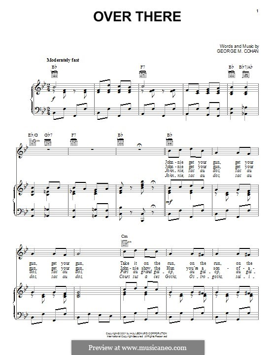 Over There: For voice and piano (or guitar) by George Michael Cohan