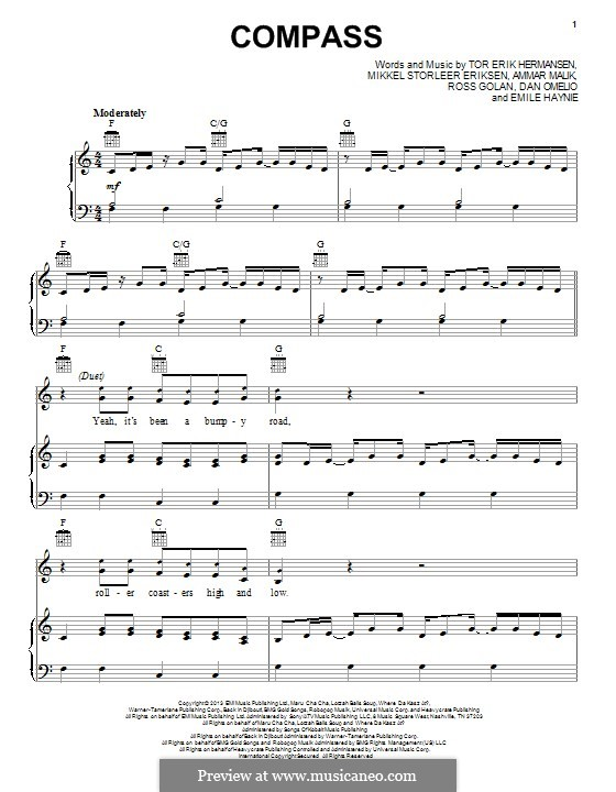 Compass (Lady Antebellum): For voice and piano (or guitar) by Ammar Malik, Daniel Omelio, Emile Haynie, Mikkel Storleer Eriksen, Rosi Golan, Tor Erik Hermansen