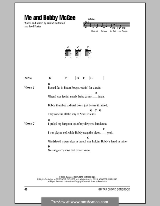 Me and Bobby McGee (Janis Joplin): Lyrics and chords by Fred Foster, Kris Kristofferson