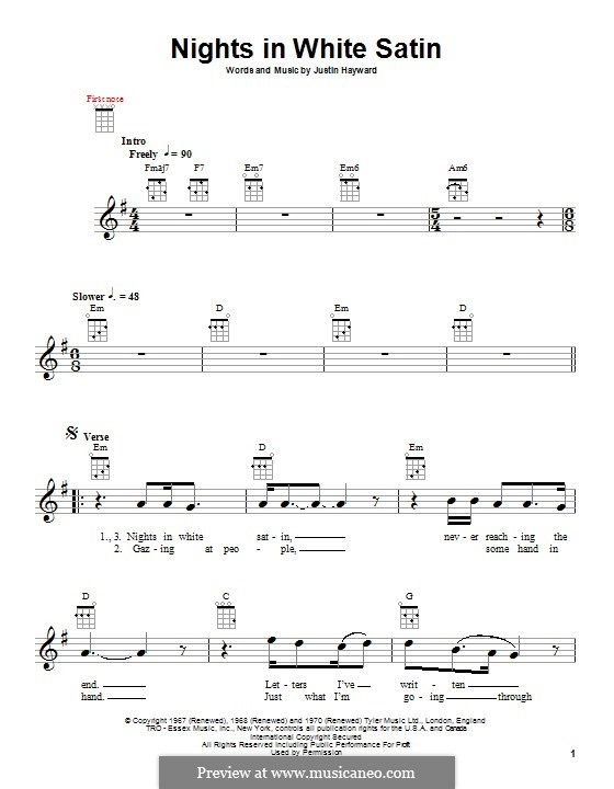 Nights in White Satin (The Moody Blues): For ukulele by Justin Hayward