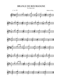 Branle de bourgogne: For guitar by Adrien le Roy