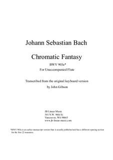 Chromatic Fantasia in D Minor, BWV 903a: Version for solo (unaccompanied) flute by Johann Sebastian Bach