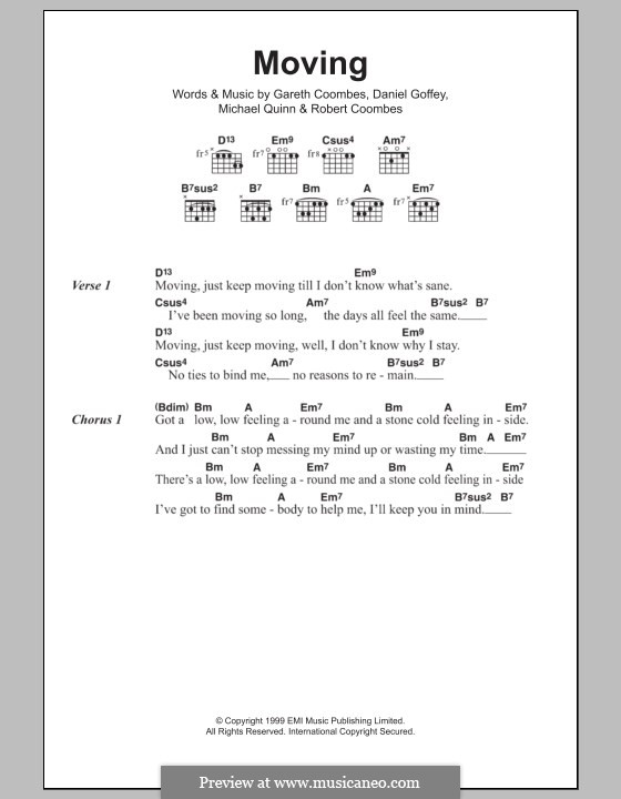 Moving (Supergrass): Lyrics and chords by Daniel Goffey, Gareth Coombes, Michael Quinn, Robert Coombes