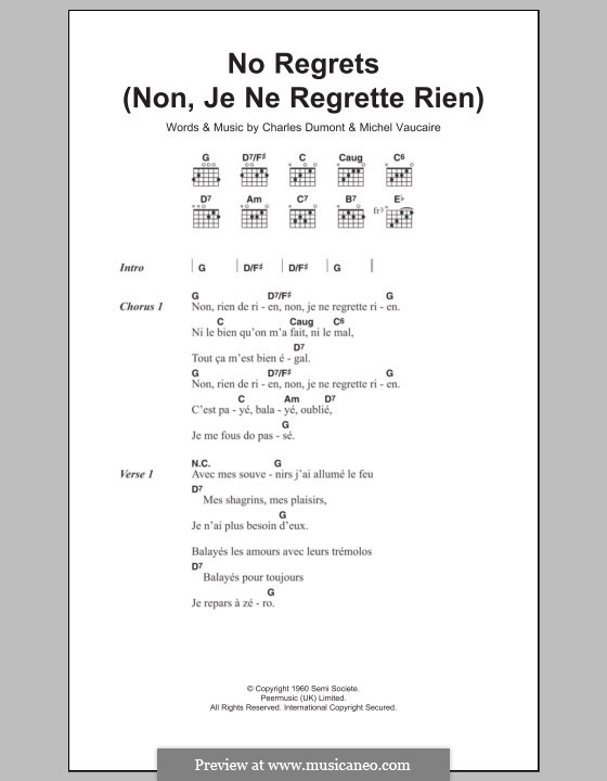 No Regrets (Non, Je Ne Regrette Rien): Lyrics and chords (Edith Piaf) by Charles Dumont