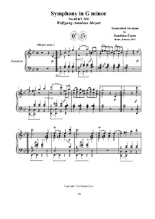 Movement IV: Arrangement for piano by Wolfgang Amadeus Mozart