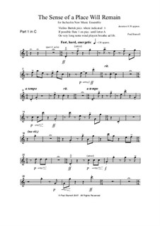 The Sense of a Place Will Remain, for flexible ensemble and voices SATB: Parts by Paul Burnell