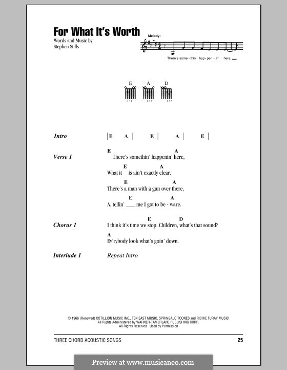 For What It's Worth (Buffalo Springfield): Lyrics and chords by Stephen Stills