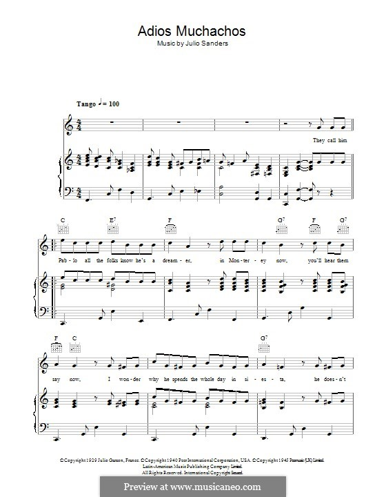 Adios Muchachos: For voice and piano (or guitar) by Julio Cesar Sanders