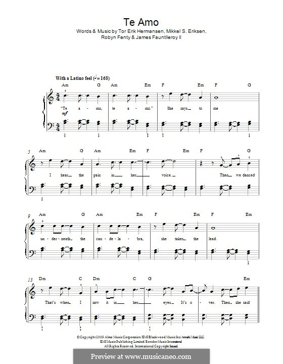 Te Amo: For piano by James Fauntleroy II, Mikkel Storleer Eriksen, Rihanna, Tor Erik Hermansen