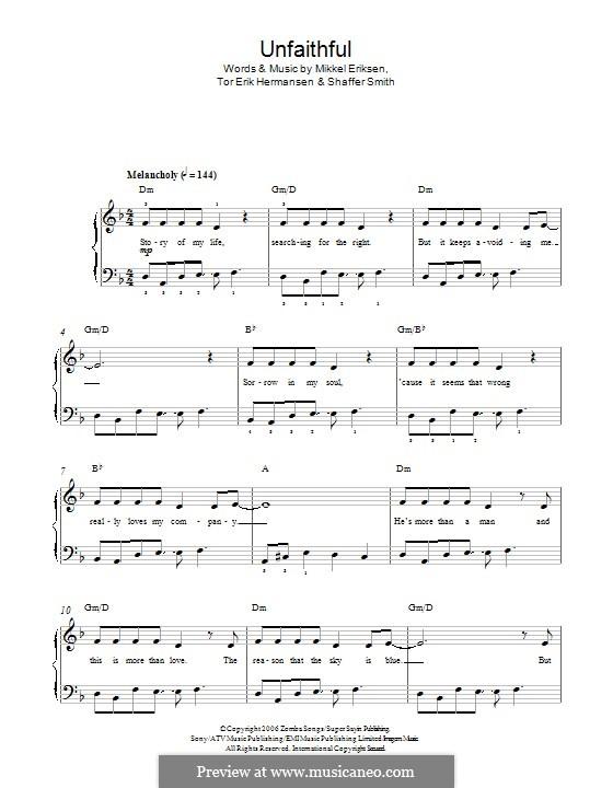 Unfaithful (Rihanna): For piano by Mikkel Storleer Eriksen, Ne-Yo, Tor Erik Hermansen