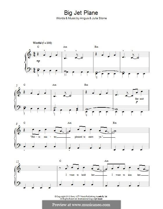 Big Jet Plane: For piano by Angus Stone, Julia Stone