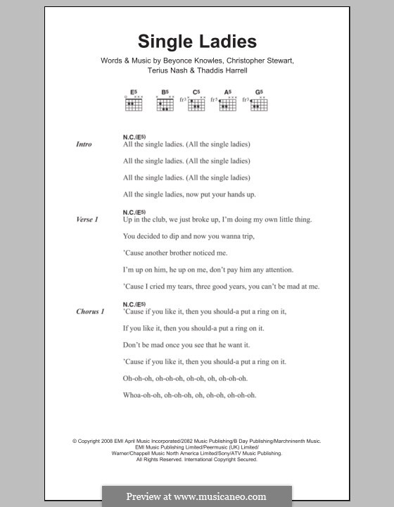 Single Ladies (Put a Ring on It): Lyrics and chords by Beyoncé, Tricky Stewart , Terius Nash, Kuk Harrell
