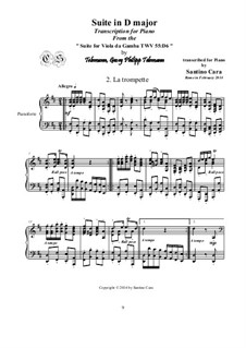 Suite in D Major, for piano, TWV 55:D6: Movement II La trompette. Movement III Sarabande by Georg Philipp Telemann