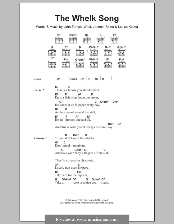 The Whelk Song (Billy Cotton): Lyrics and chords by John Temple West, Johnny Reine, Louise Kulma