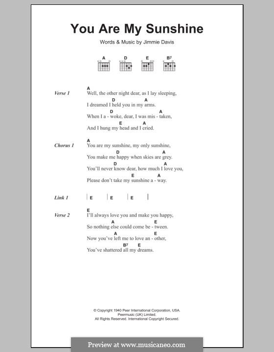 Banjo banjo chords you are my sunshine : You are My Sunshine by J. Davis - sheet music on MusicaNeo
