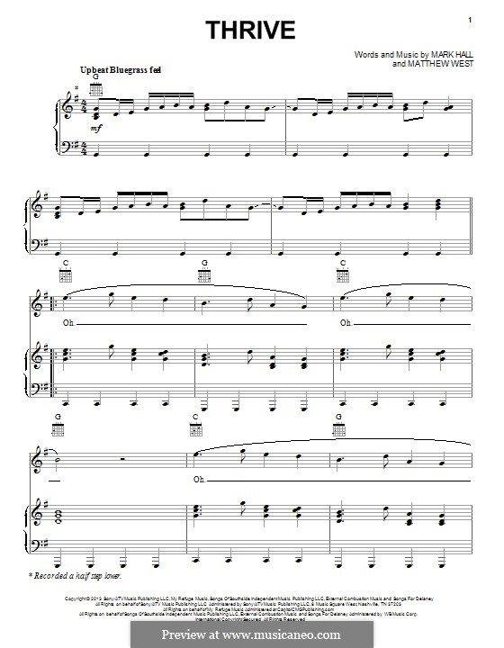 Thrive (Casting Crowns) by M. Hall, M. West - sheet music on MusicaNeo