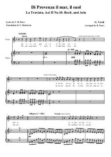 Di provenza il mar: For voices and piano by Giuseppe Verdi